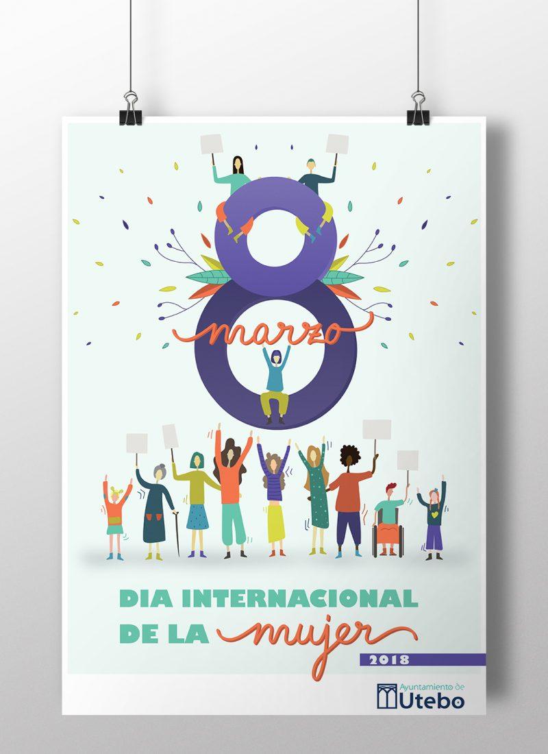 8 Marzo, Día Internacional de la Mujer. Utebo | Diseño de Cartelería