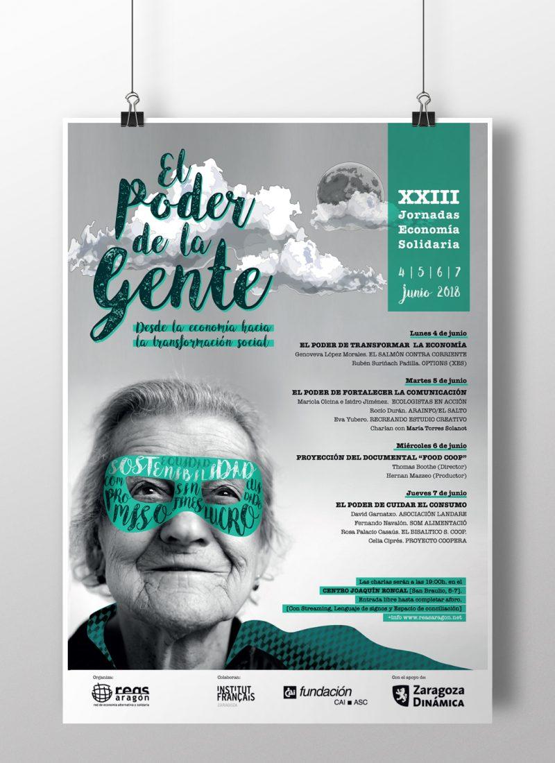 Diseño cartel Jornadas de economía solidaria Aragón