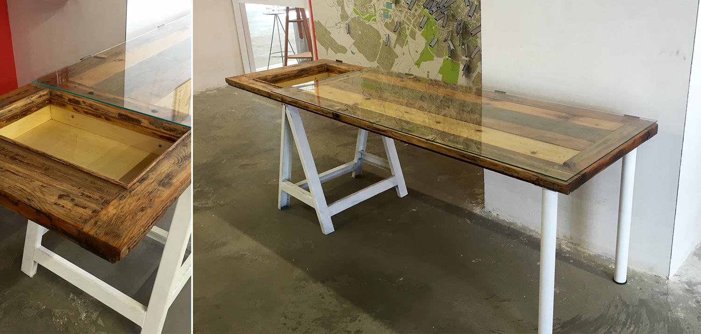 Mobiliario creado para HarineraZgz a partir de matierales reciclados