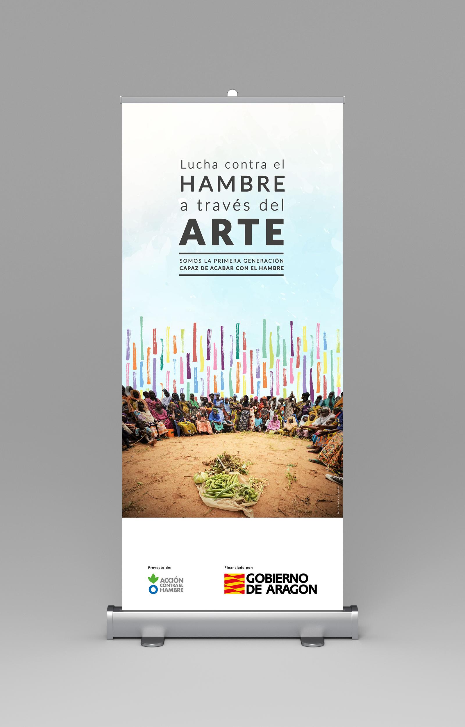 Diseño gráfico de la imagen de Accion Contra el Hambre en su carpa de Generación No Hunger_Recreando Estudio Creativo