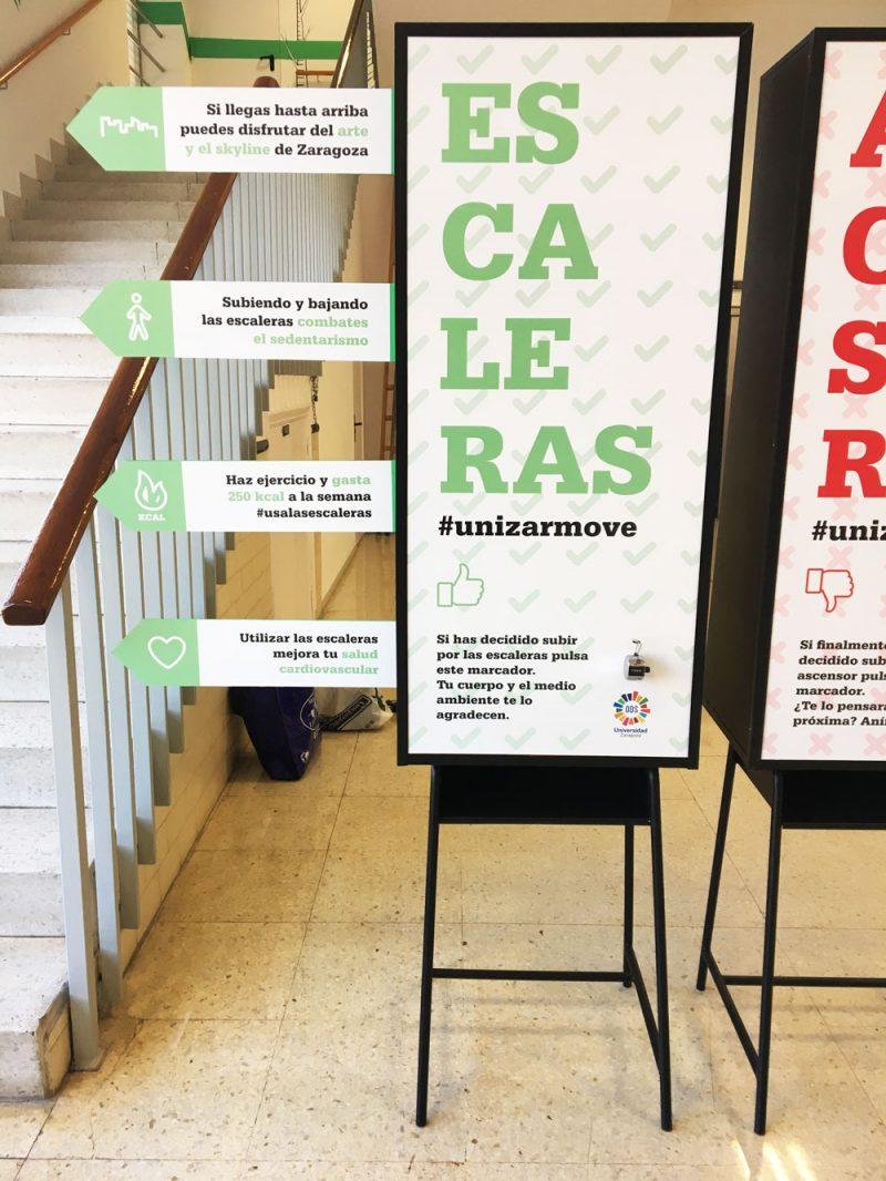 Intervención artistica e interectiva para usar las escaleras en la Universidad de Zaragoza