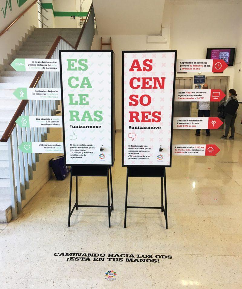 Intervención artística, descriptiva e interactiva para usar las escaleras en la Universidad de Zaragoza